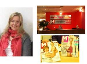 左がレベッカさん、右がM-マガジンのオフィス、下は表紙がアメリアさんのM-マガジン4月号と5月号
