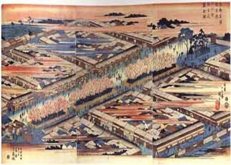 東都名所新吉原五丁町弥生花盛り全図 広重 天保6年(1830)頃