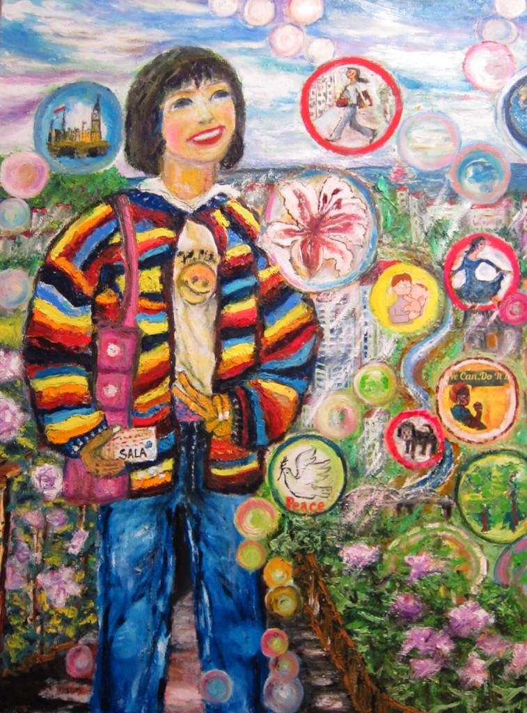 「さらちゃん(13歳) の明日」40号 若者の未来に夢あれとシャボン玉に願いをこめました。
